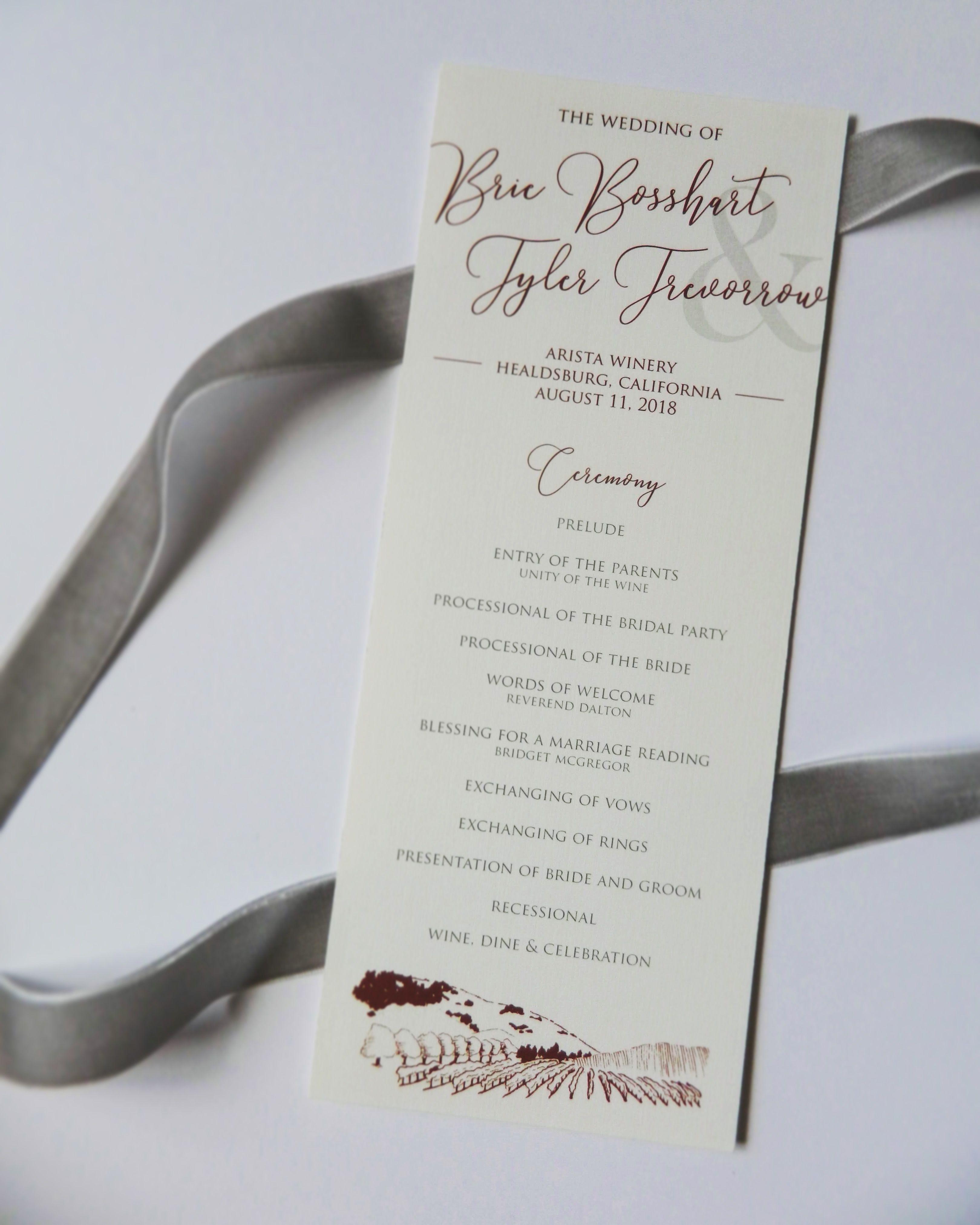 wedding program linen paper burgundy font vintage wine theme