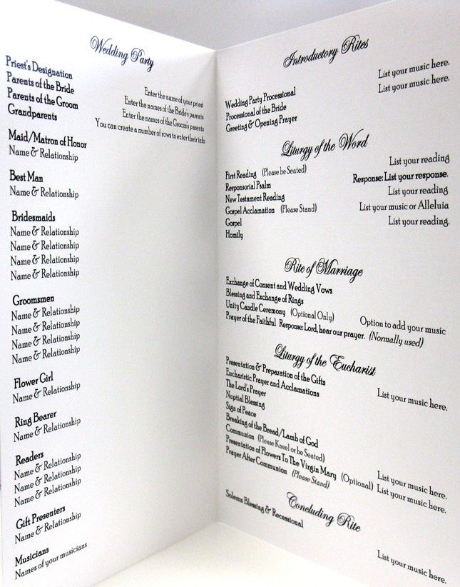 Catholic Wedding Program Idea Clean And Simple Layout Love The Please Be Seated Note Ups Downs Of Mass Can Confusing For Visitors