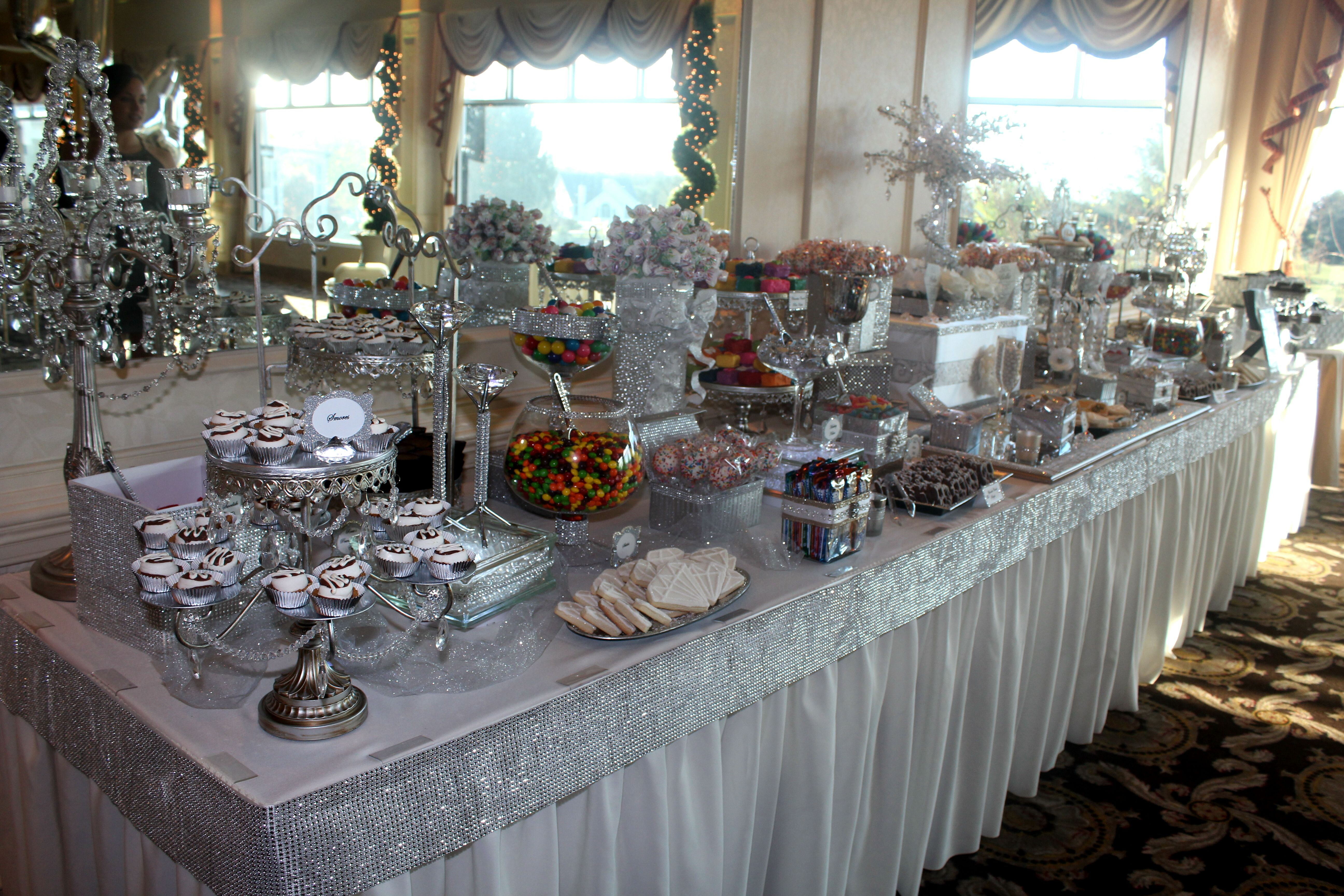 White Silver Bling Sweet 16 Candy Table Sweet 16 Candy Candy Table Silver Bling