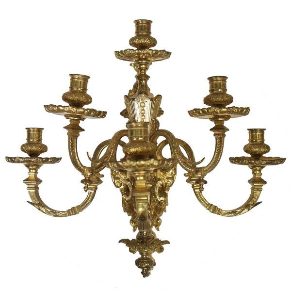 French Louis Xvi Style Gilt Bronze Six Light Wall Sconce