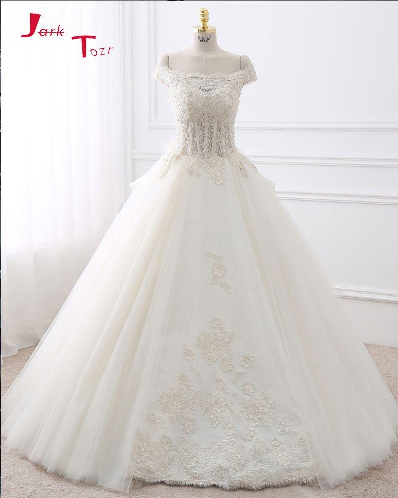 Jark Tozr 2017 New Gorgeous White Ball Gown Wedding Dresses Turkey Vestido De Noiva Customize Appliques Honorable Ivoor Trouwjurk Trouwjurk Open Rug Baljurken