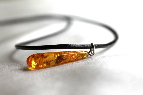 Honey Baltic Amber Pendant Mens Leather Necklace by DreamsFactory