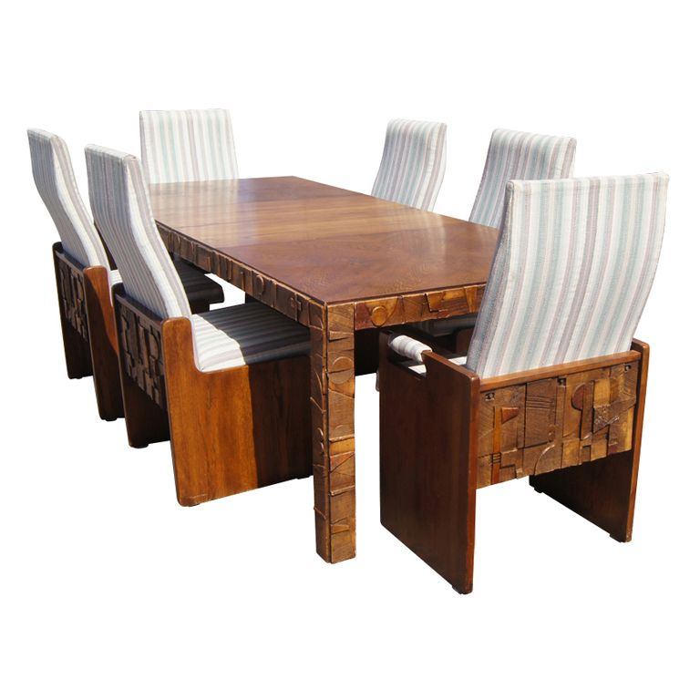 Wonderful Brutalist Style Walnut Dining Suite By Lane. Modern Dining Room SetsModern  ...