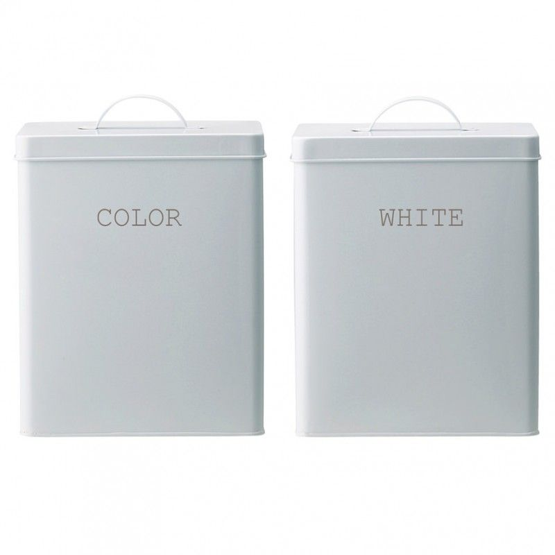 Icke gamla Tvättmedelsburk snygg vit tvättmedelsburk i plåt Bloomingville RG-72