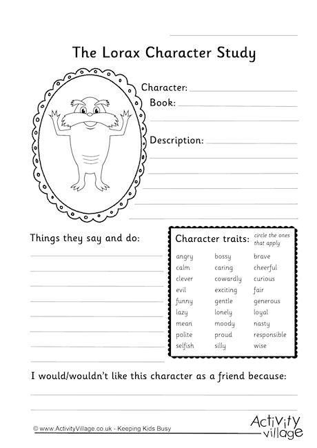 lorax character study worksheet kdg ideas pinterest lorax worksheets and science experiments. Black Bedroom Furniture Sets. Home Design Ideas