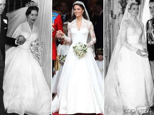 1 Princess Margret 2 Duchess Catherine And 3 Princess Grace On Their Royal W Kate Middleton Wedding Dress Wedding Dress Pictures Princess Margaret Wedding