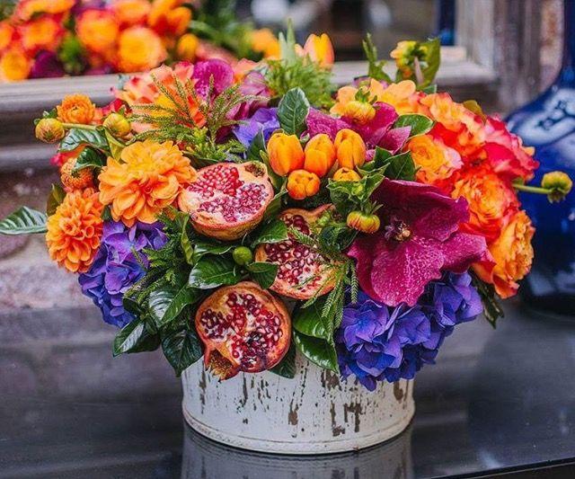 Fuchsia Purple Orange And Green Centerpiece With Pomegranates