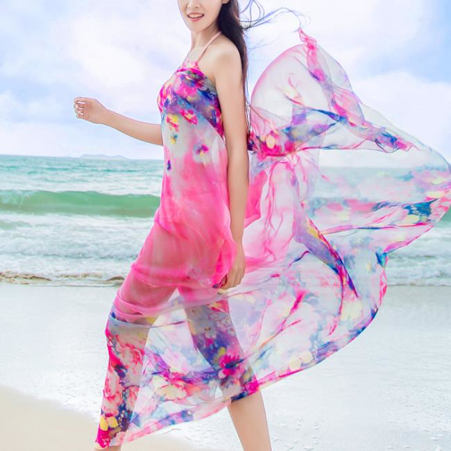 ca0322a72b Hot Sexy Printed Sunscreen Summer Beach Floral Silk Scarf And Shawl For  Women
