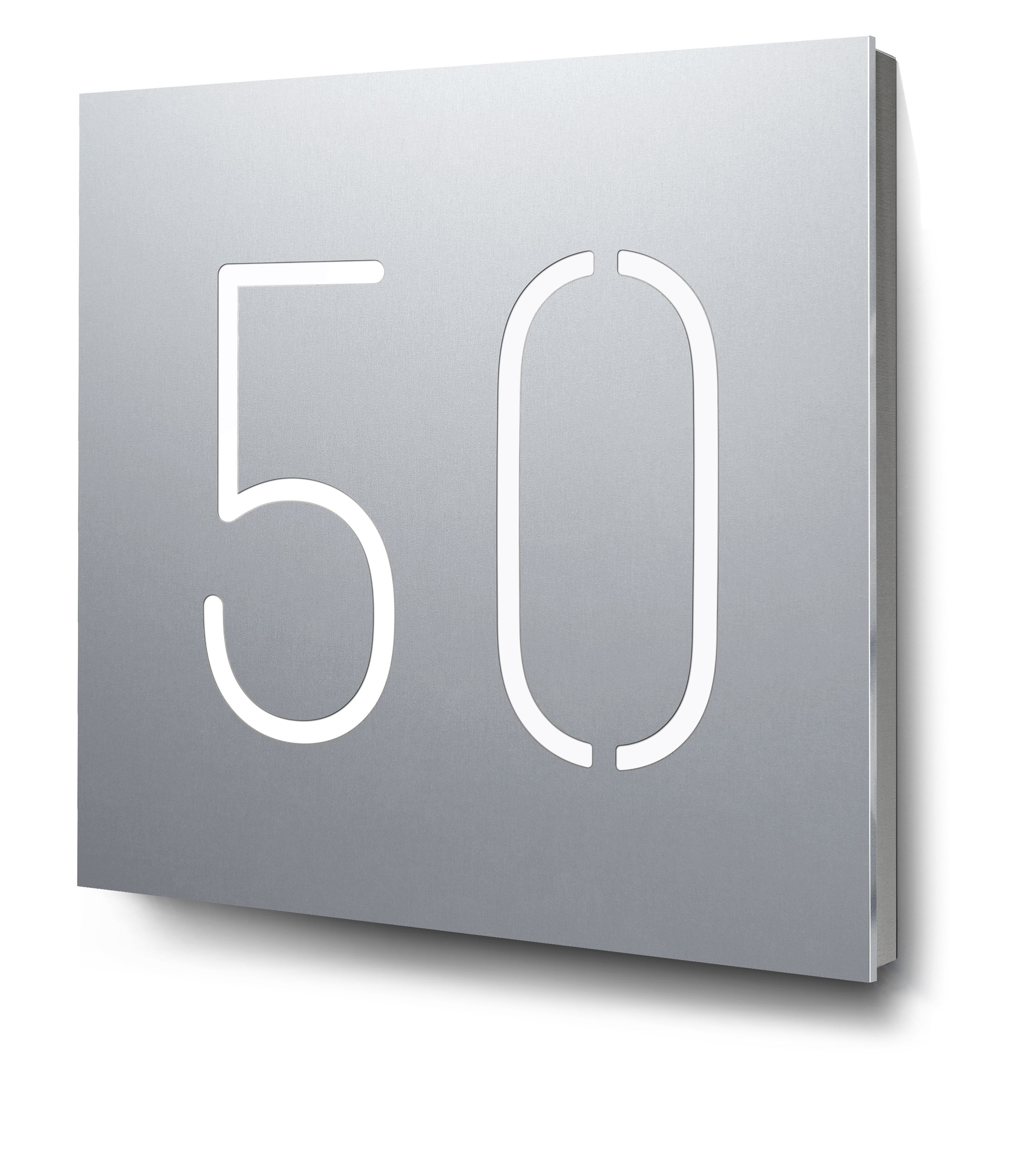Hausnummer aus Edelstahl  V2A Hausnummern VA Hausnummernschild