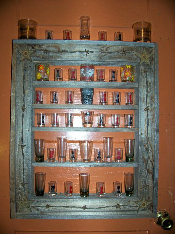 Shot Glass Display Shelf Rustic Trimmed With Rusty By
