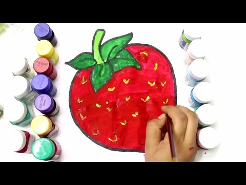 Coloring Strawberry to learn colors, learn to color fruits ...