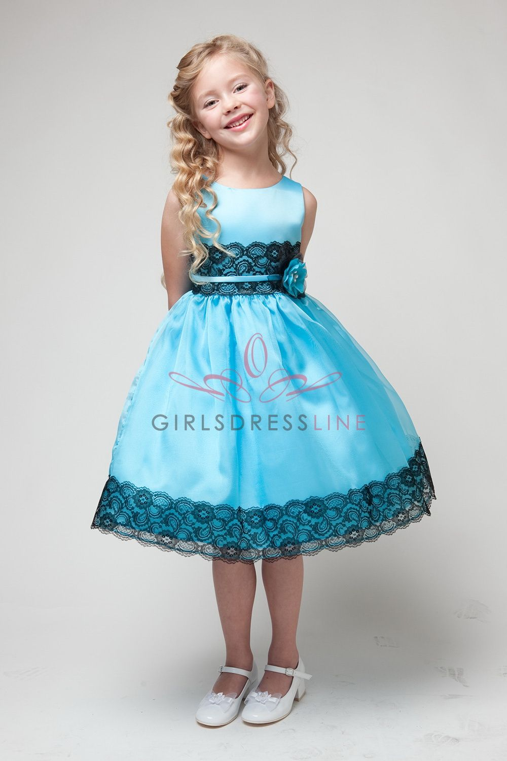 Turquoise/Black Satin Lace Flower Girl Dress JD1225-TB $44.95 on www ...