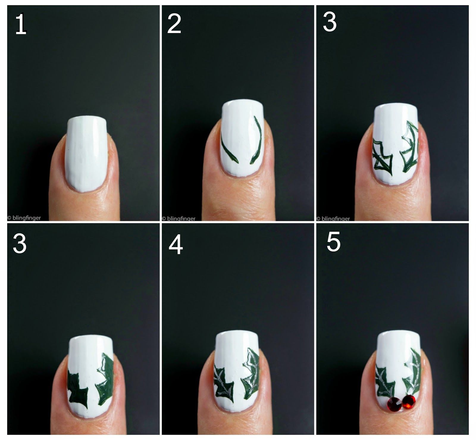 Christmas holly nail art tutorial nail art christmas and christmas holly nail art tutorial prinsesfo Gallery