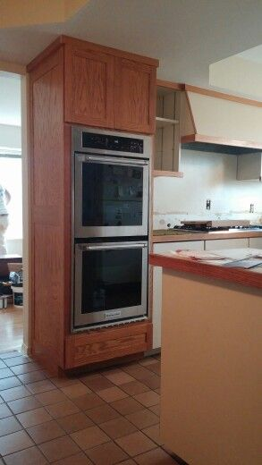New Cabinet With Double Wall Ovens. Oven Cabinet, Wall Ovens, Microwave,  Kitchen