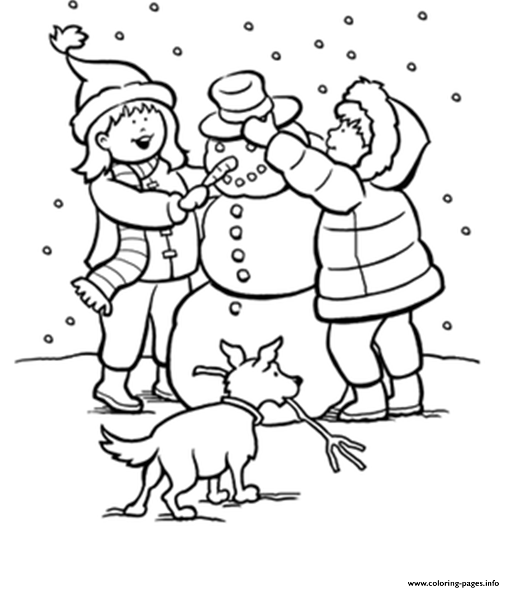 Print winter snow s kids making snowman 9baa coloring pages | 3-4a ...