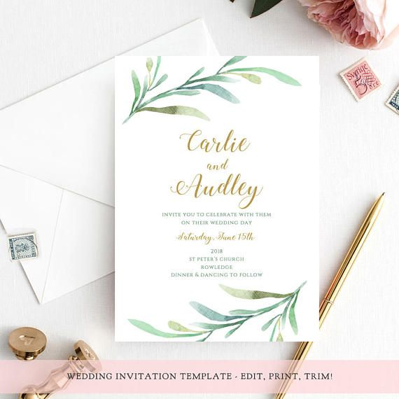 Greenery wedding invitation template Garden invitation 1 Etsy Mall - Download Numbers Spreadsheet For Mac
