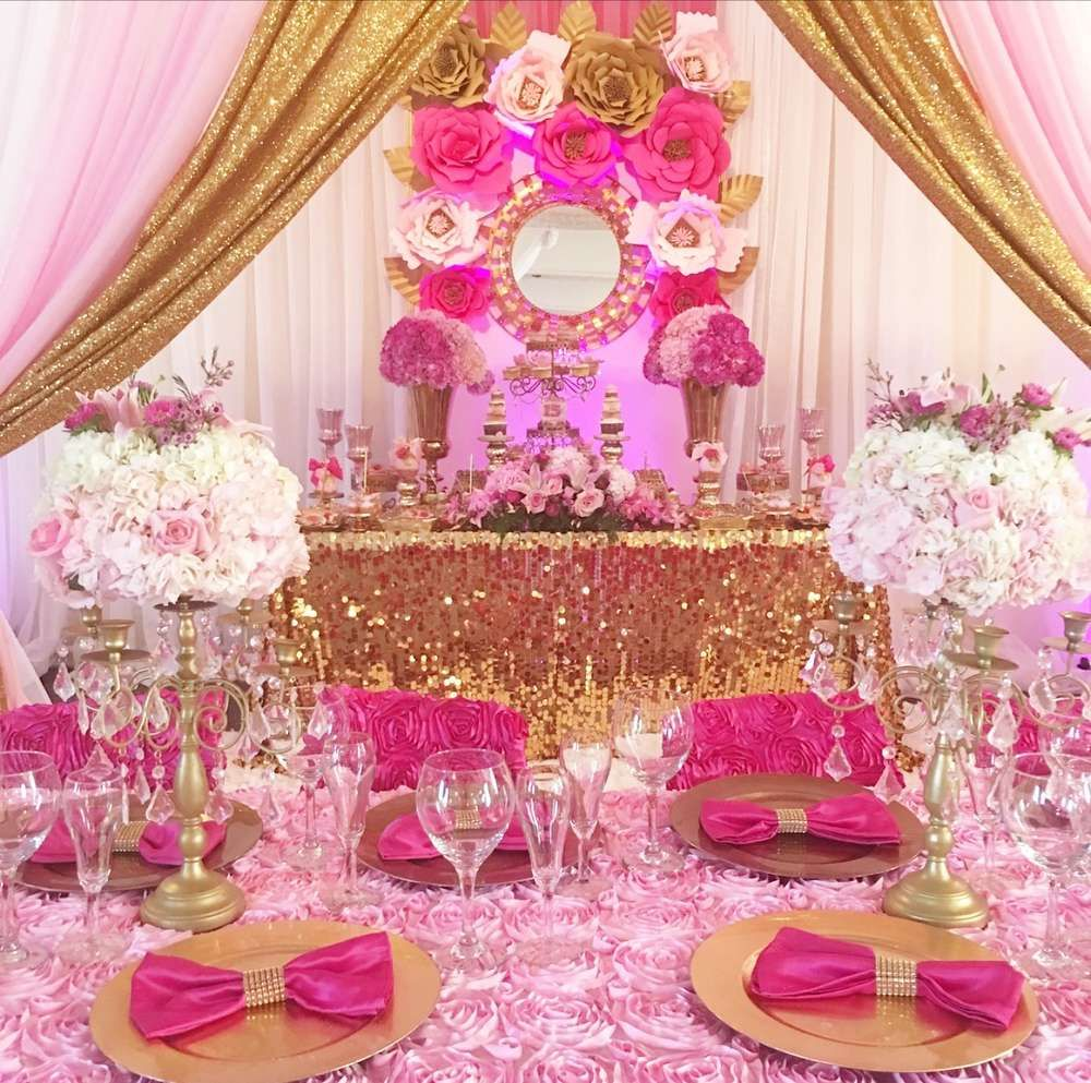 A luxurious bright pink and gold Quinceañera! See more