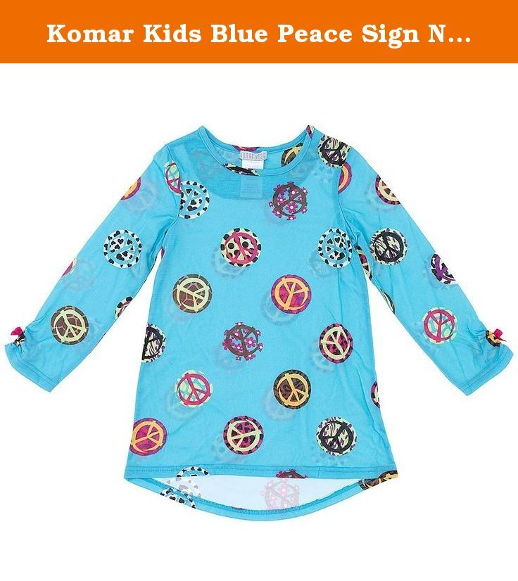Komar Kids Blue Peace Sign Nightgown for Big Girls M/7-8. This simple, dorm-style nightgown features a fun novelty print. • 100% polyester knit• Flame resistant.
