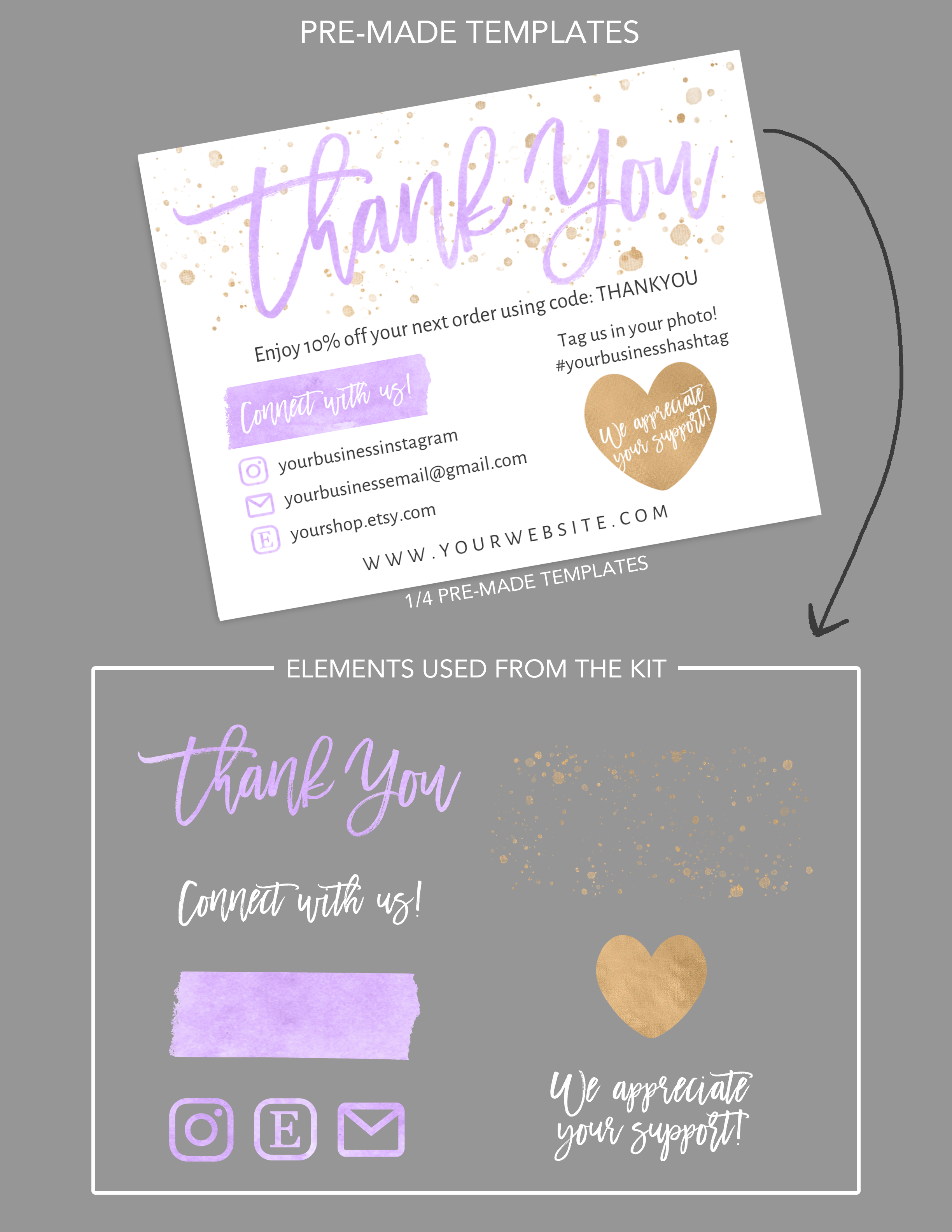 Diy Printable Thank You Card For Your Order Purple Small Etsy Printable Thank You Cards Business Thank You Cards Business Thank You Notes