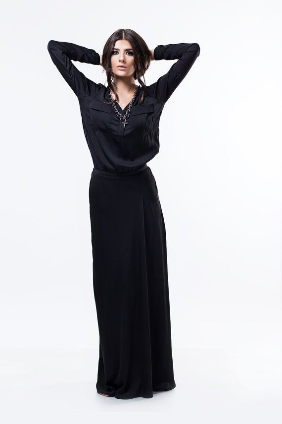 MEGA SALE Loose black maxi dress / Long sleeve dress / Black long ...