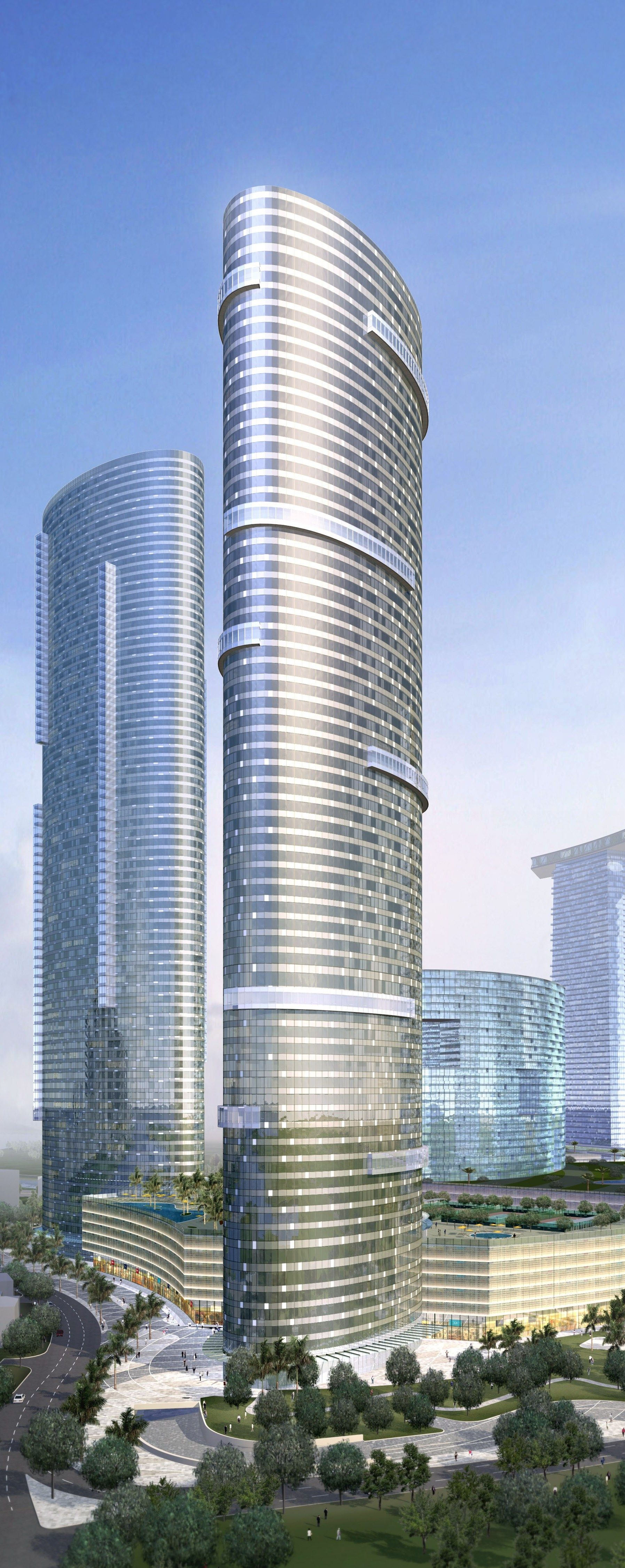 Sun Tower, The Gate Shams Abu Dhabi, UAE designed by Arquitectonica :: 64 floors, height 238m
