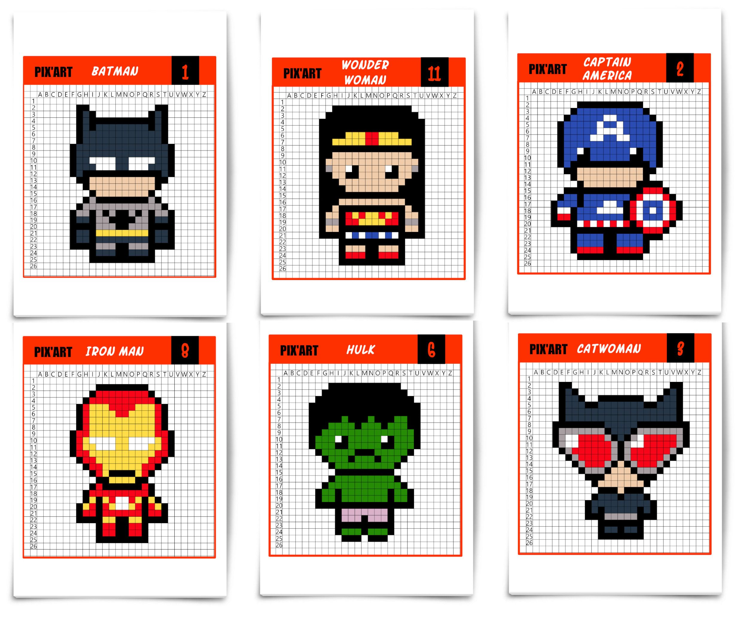 Les Super Héros Débarquent En Pixel Art Activités Enfant