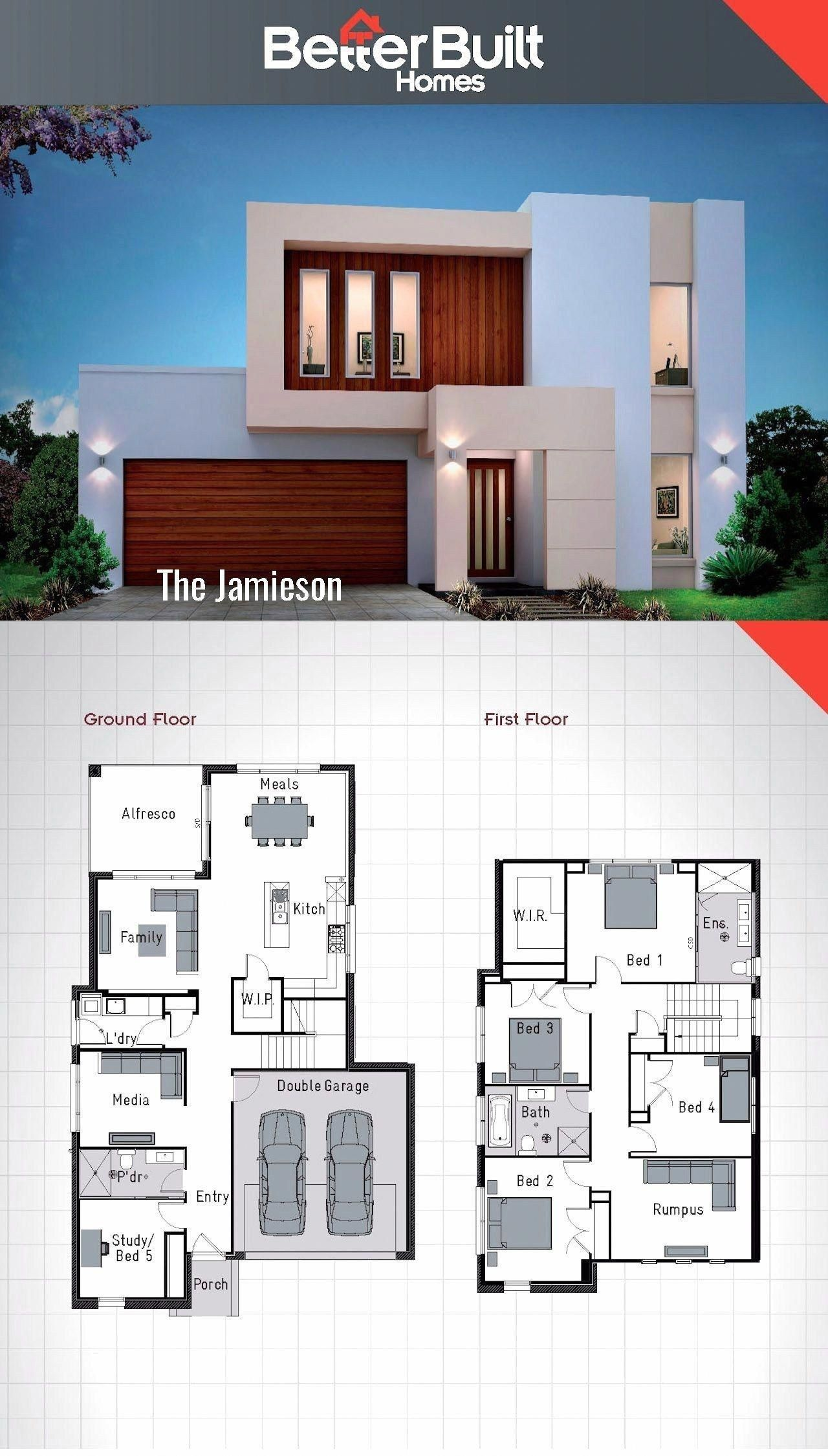 Elegant 4 Bedroom 2 Story House Plans Double Storey House 2 Storey House Design House Layouts