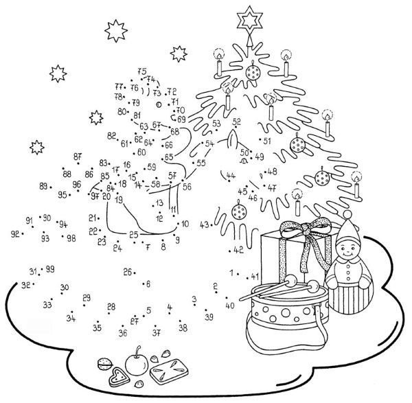 Dibujo de unir puntos de rbol en Navidad: dibujo para ...