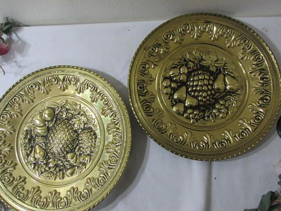 Decorative Br Plates Or Trays Wall Hanging Vintage Set Of 2