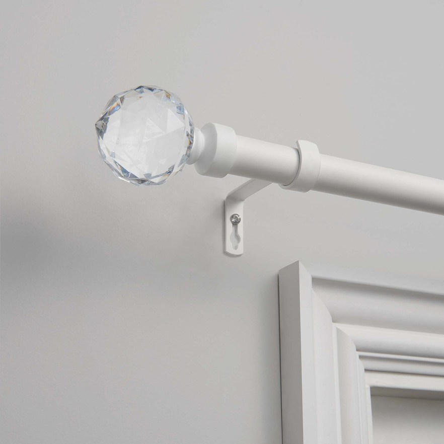 Exclusive Home Crystal Ball 1 In Curtain Rod White Curtain