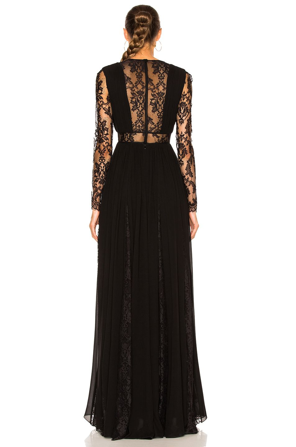 Image of zuhair murad georgette u lace v neck gown in black