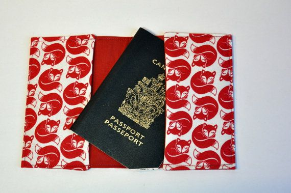 Passport Cover Sleeve holder Fabric Sleeping fox red on white
