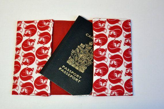 Passport Cover Sleeve holder Fabric Sleeping fox red on white