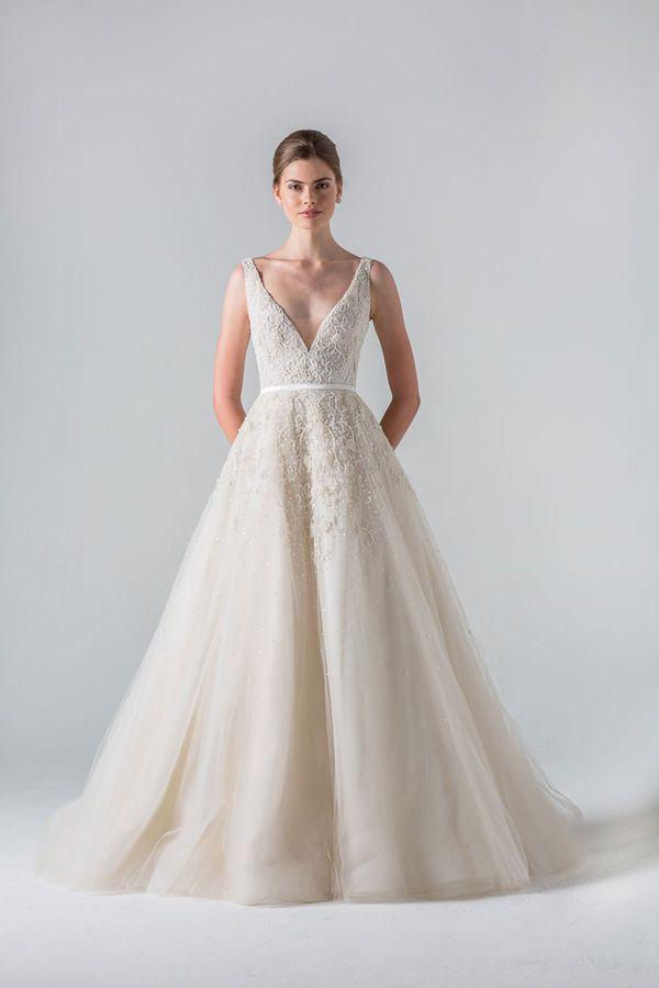 3122c15626e4 princess wedding gown with deep sweetheart neckline @myweddingdotcom