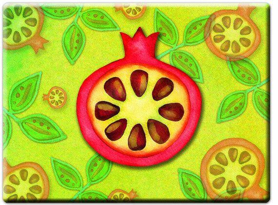 Bright pomegranate glass cutting board, original art bread board, Judaica kitchen art, Jewish symbol, graphic design platter, Hanukkah
