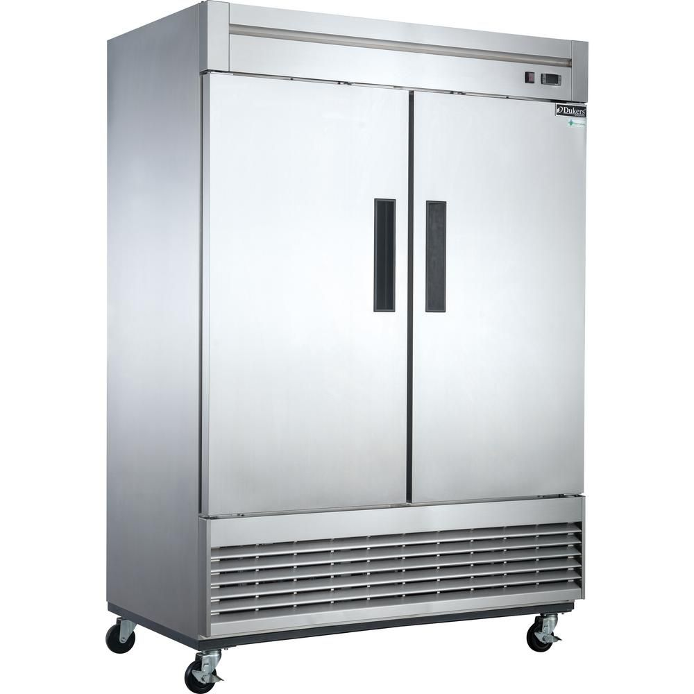 Dukers 40 7 Cu Ft 2 Door Commercial Upright Freezer In Stainless Steel Silver Upright Freezer Locker Storage Adjustable Shelving