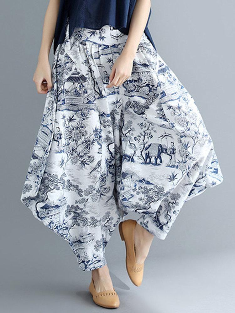 Elastic waist printed cotton loose harem pants printed