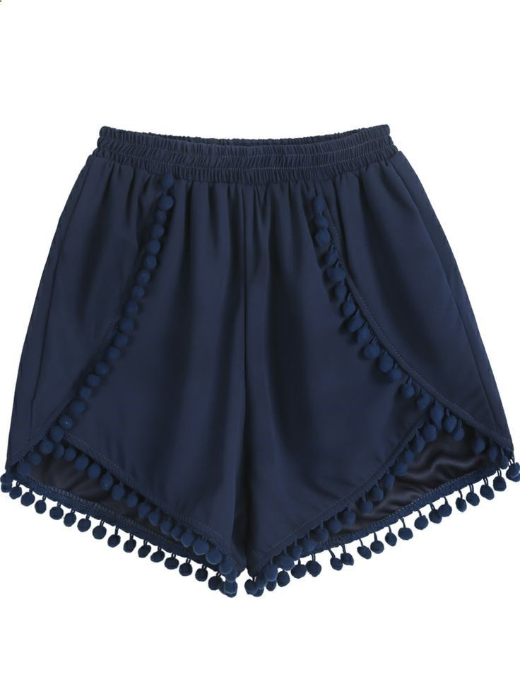 Navy Elastic Waist Twisted Ball Embellished Shorts