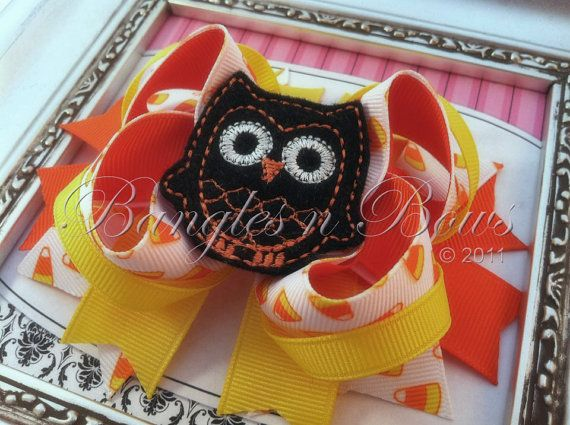 Candy Corn Owl Fall Halloween Thanksgiving Stacked by BanglesnBows, $9.50