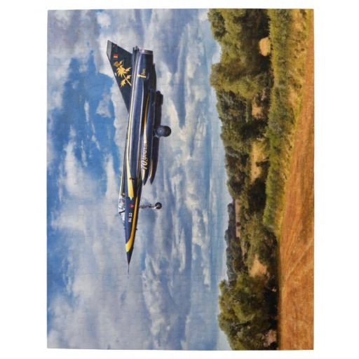 """10 by 14 jigsaw - Dassault Mirage aircraft Puzzle Made of sturdy cardboard and mounted on chipboard, these puzzles are printed in vivid and full color, available in 2 sizes:  8"""" x 10"""" (110 pieces) or 10"""" x 14"""" (252 pieces). #aircraft #aviation"""