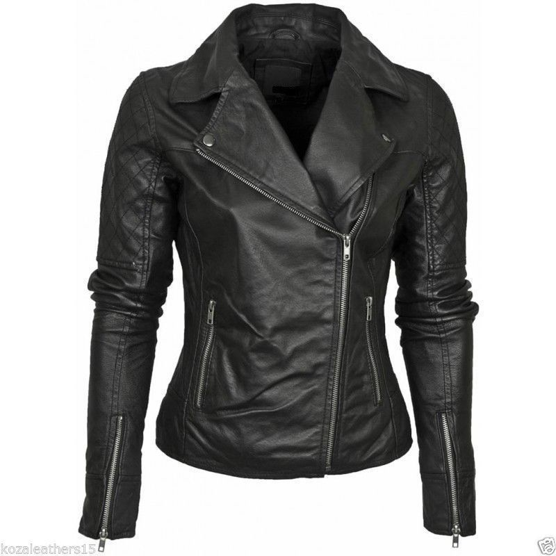 New Women/'s Genuine Lambskin soft Leather Motorcycle Slim fit Biker Jacket