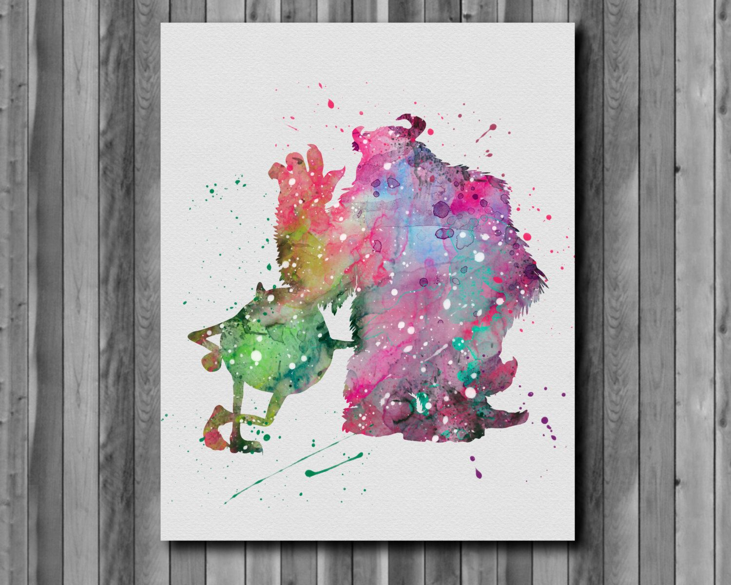 Mike & Sulley Poster, Monsters Disney  - Art Print, instant download, Watercolor Print, poster by digitalaquamarine on Etsy https://www.etsy.com/listing/233687951/mike-sulley-poster-monsters-disney-art