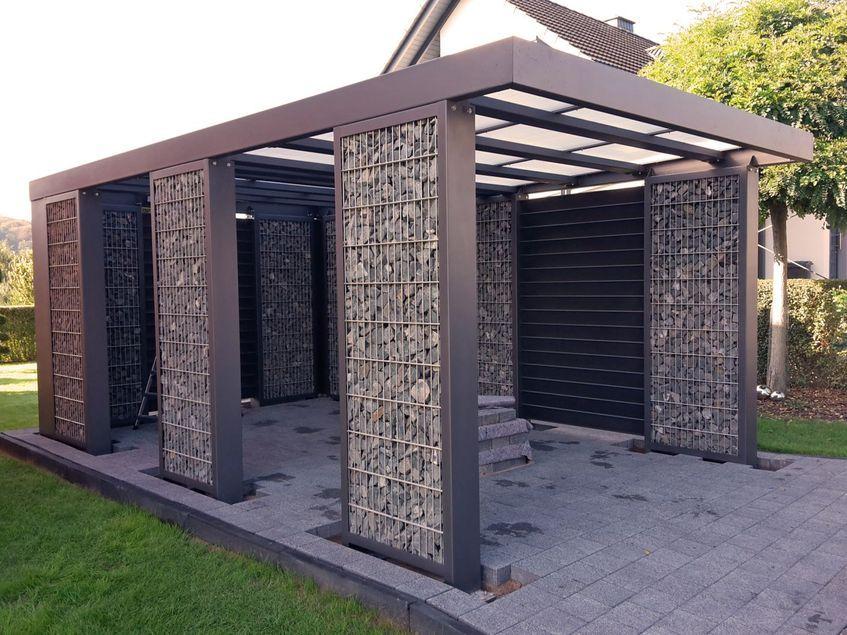 gabionen carport steelmanufaktur garage design ideas