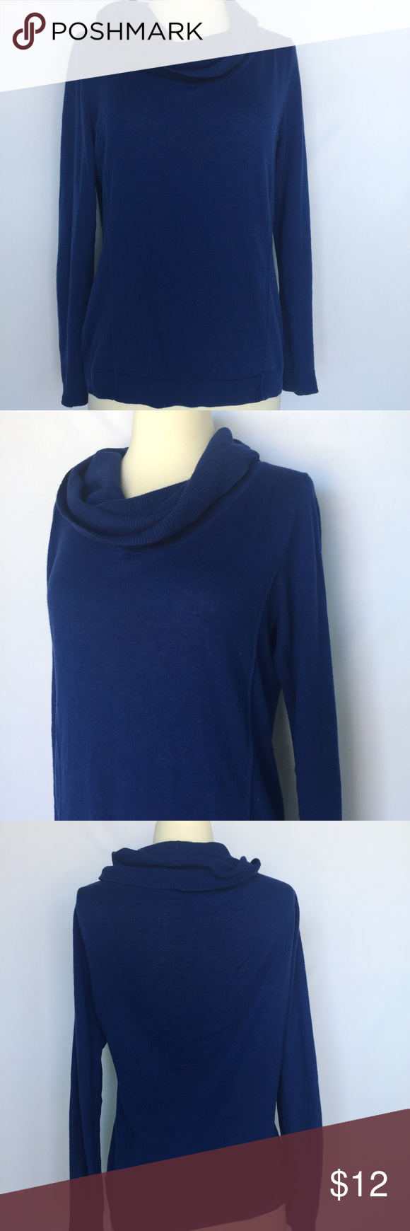 """The Limited royal blue cowl neck sweater Gently used The Limited royal blue cowl neck sweater size small. No stains or holes. Length approximately 24"""", sleeve length 22"""", material cotton and viscose. The Limited Sweaters Cowl & Turtlenecks"""