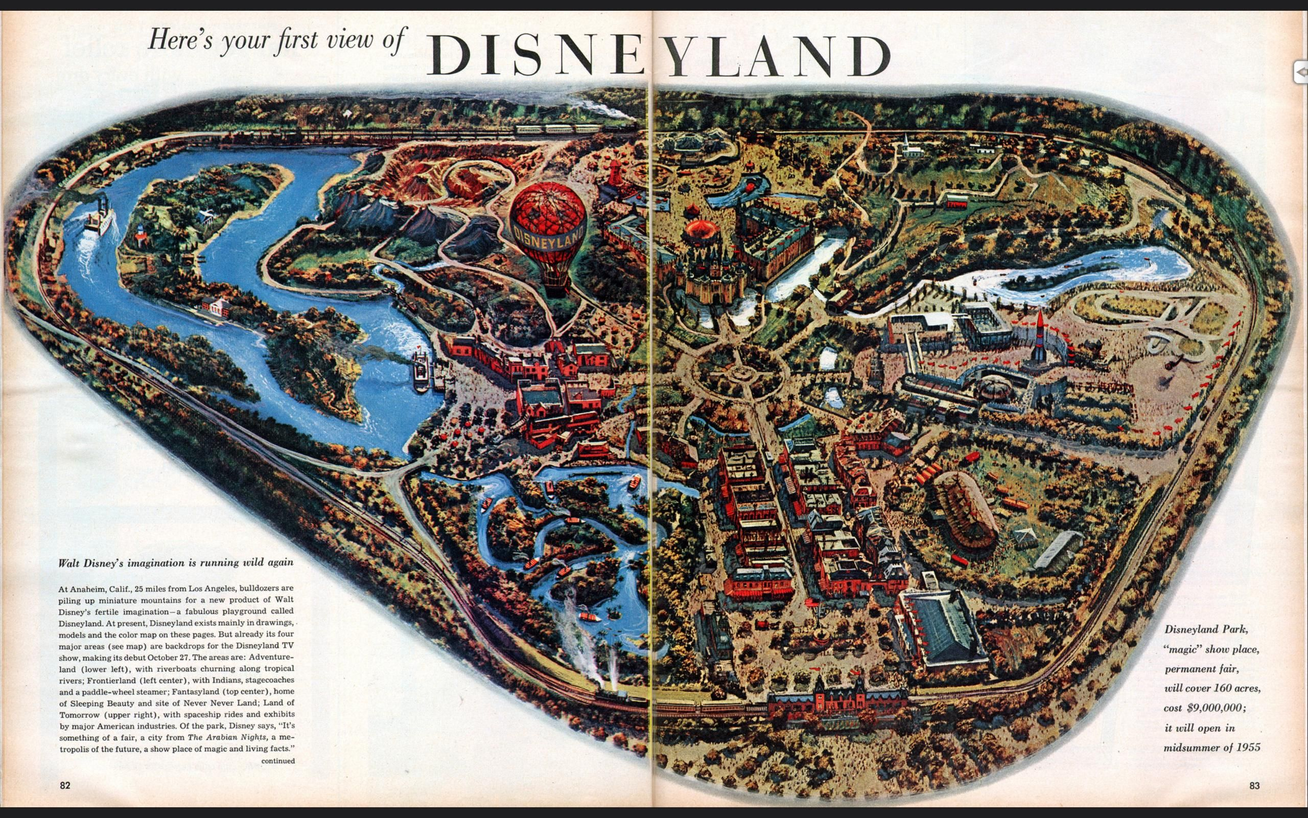 Map Of Disneyland Opened In 1955 2560 X