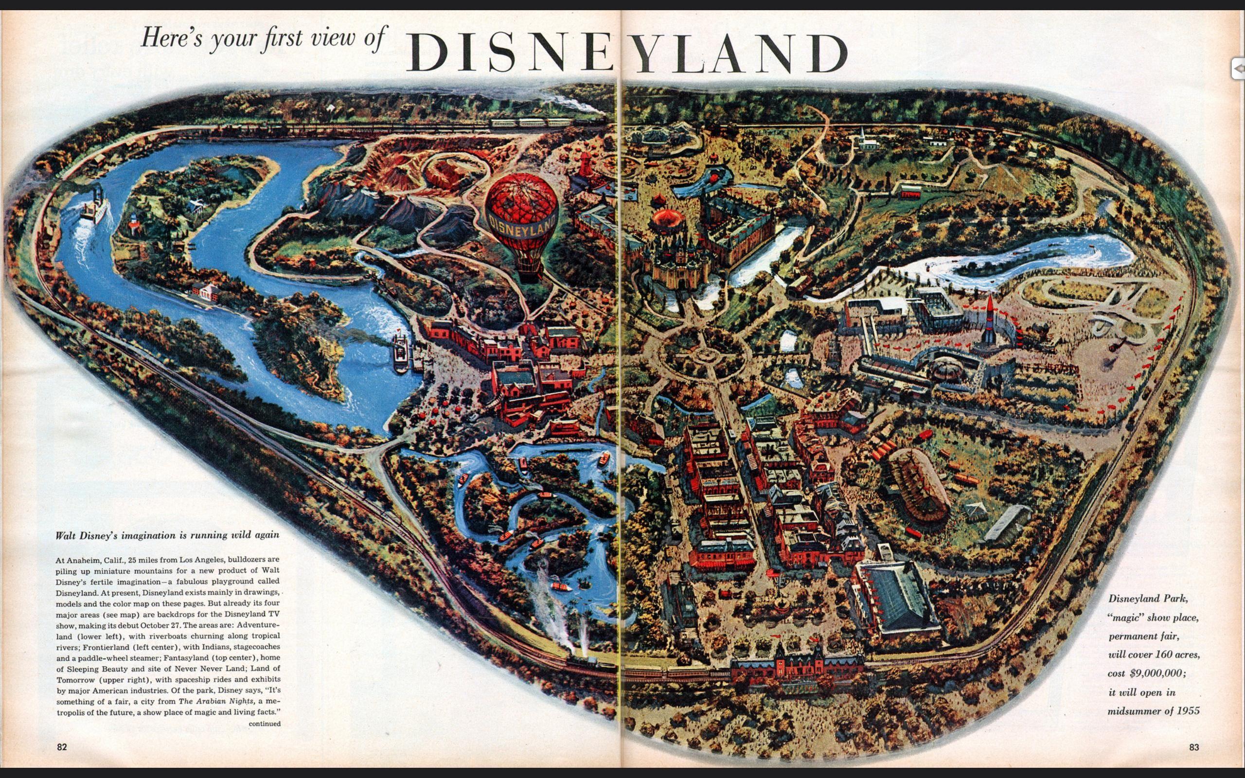 Disneyland 1955 Map Map of Disneyland righ...