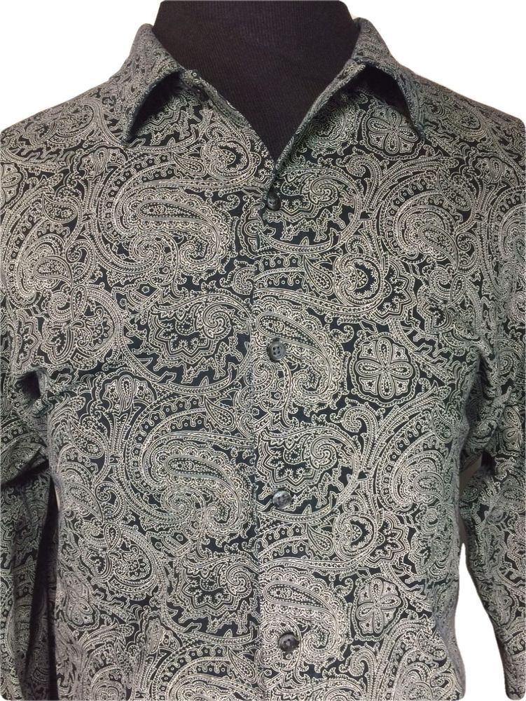 Austin Reed London Long Sleeve Casual Shirt Black White Paisley Cotton Xl Casual Shirts For Men Casual Shirts Men Casual