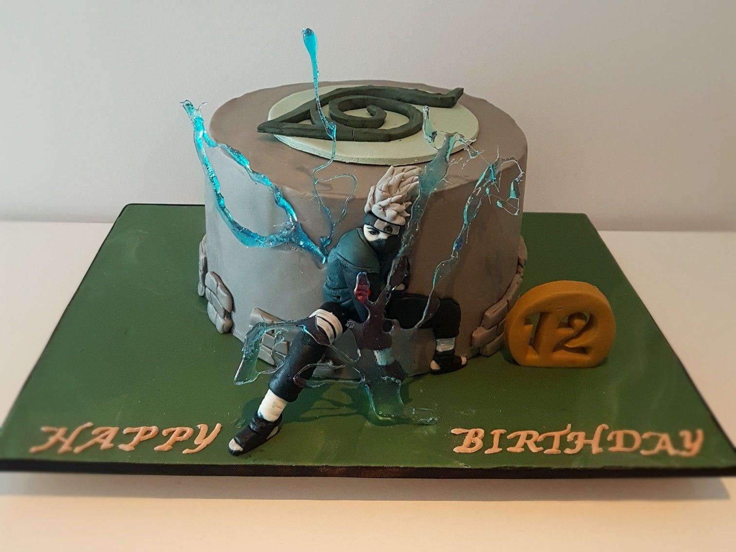Japanese anime Naruto cake with Kakashi Hatake using