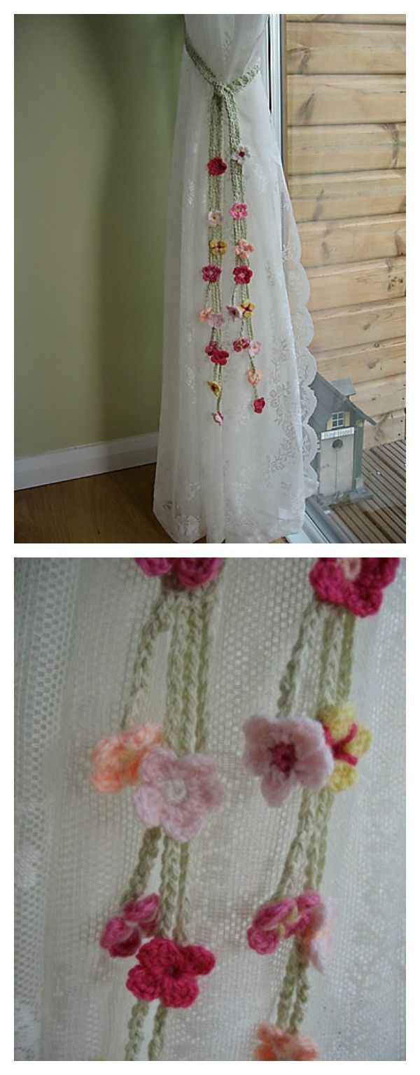 Flower Patterned Curtains Flower Curtain Tie Back Free Crochet