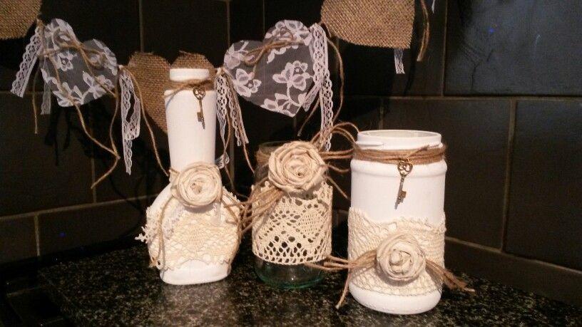 Painted lace bottle & jars